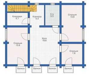План мансардного этажа большого дома из бруса