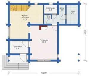 План первого этажа большого дома из бруса