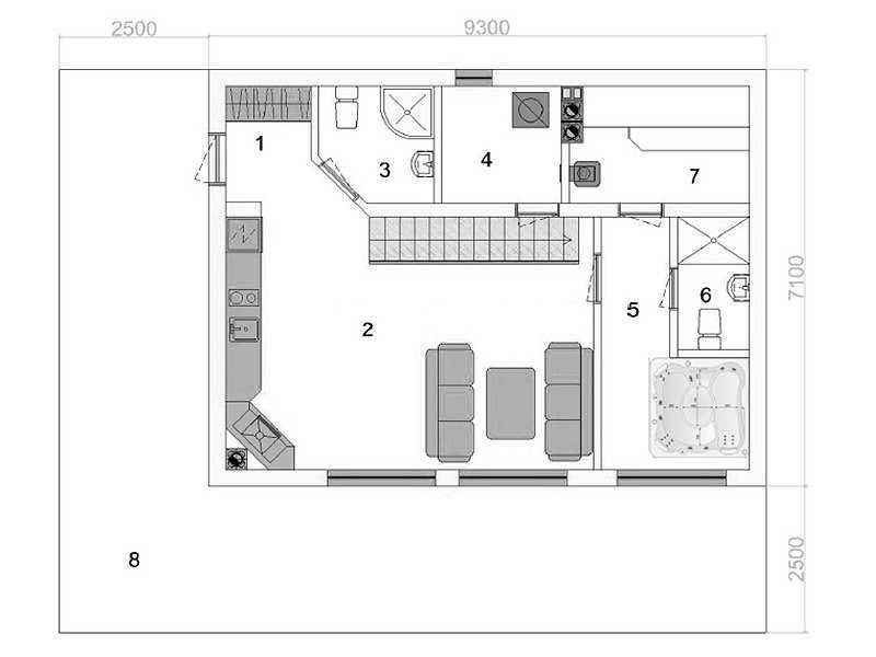 план бани первый этаж