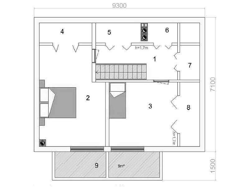 План бани второй этаж