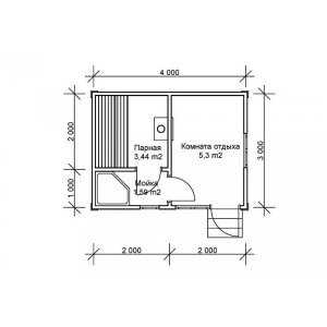 Бесплатный план каркасной бани N1