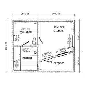 Бесплатный план каркасной бани N4