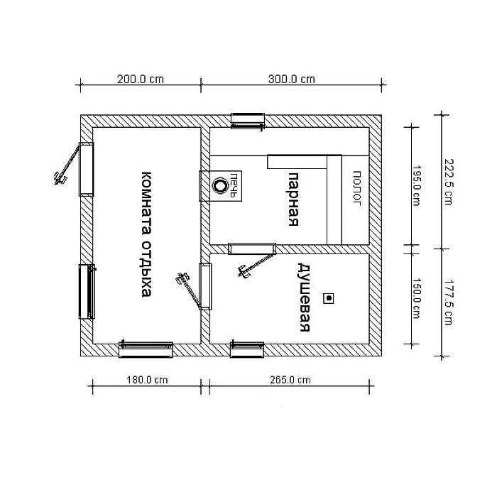 Бесплатный план каркасной бани N5