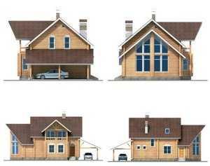 Фасад дома из больших бревен