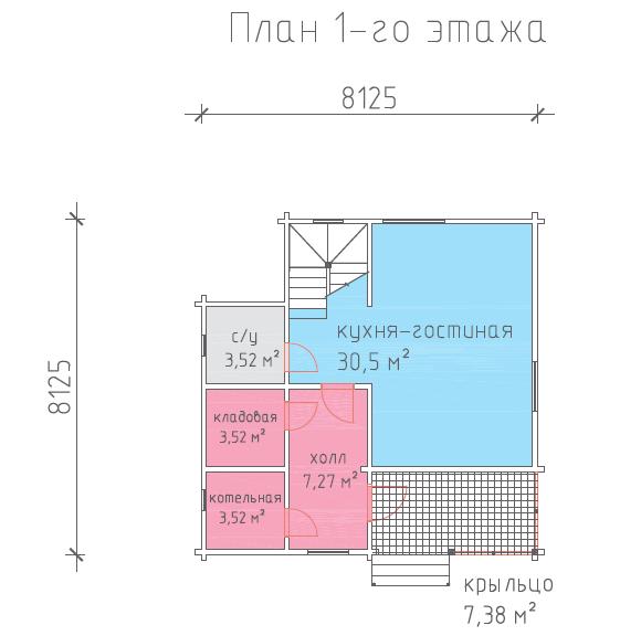 план первого этажа каркасного дома