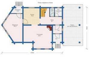 План первого этажа дома из больших бревен