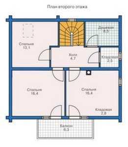 План второго этажа дома из больших бревен