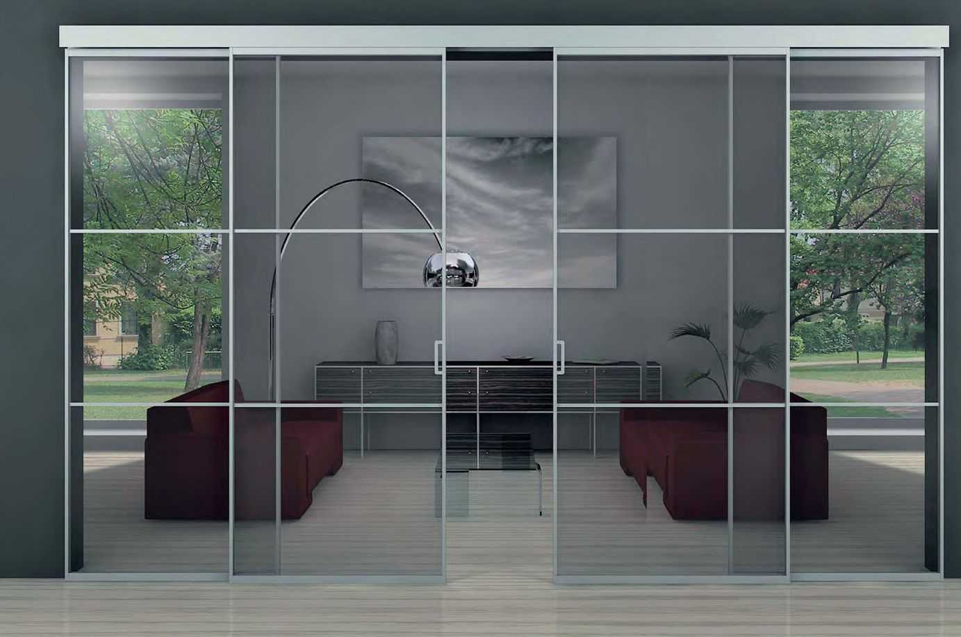 стеклянные раздвижэные двери