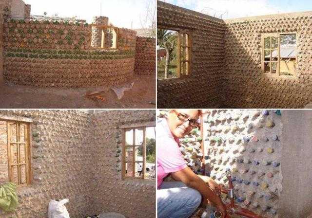 стены из пластиковых бутылок