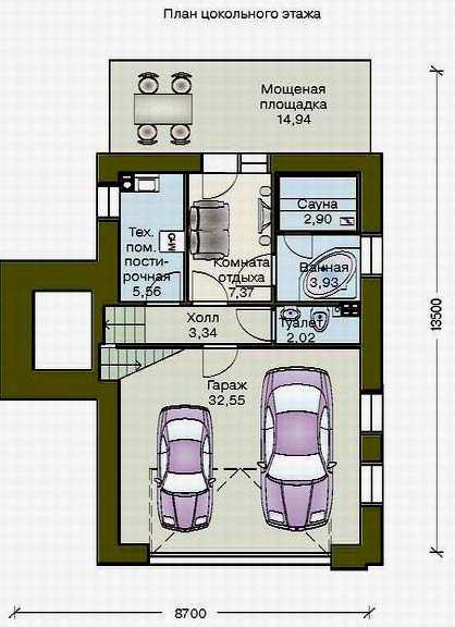 дом с гаражом в цокольном этаже