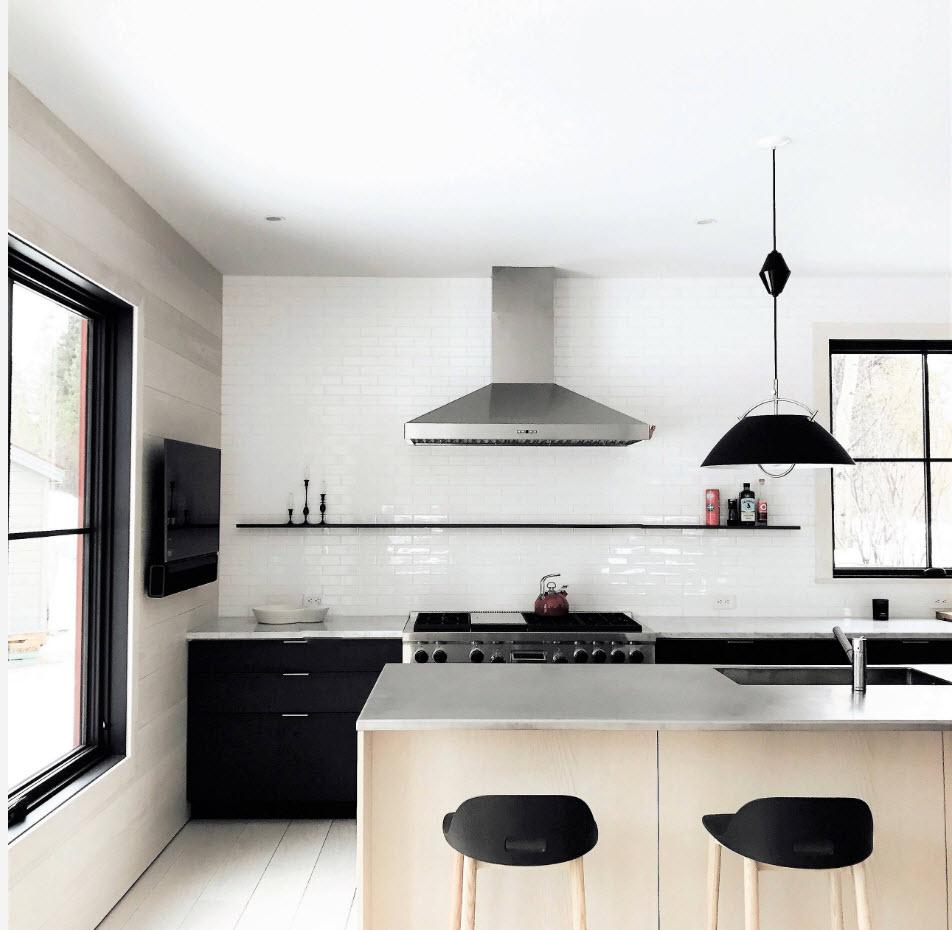 дизайн кухни столовой в частном доме