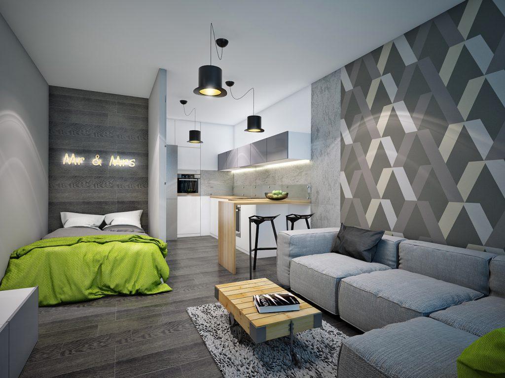 серый стены в доме